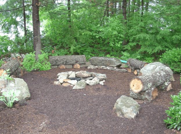 wooded fire pit
